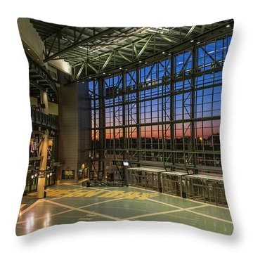 Throw Pillow featuring the photograph Lambeau Field Atrium Sunset by Joel Witmeyer