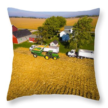 Loading The Semis Throw Pillow