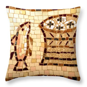 Loaves And Fishes Mosaic Throw Pillow by Lou Ann Bagnall