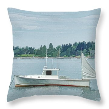 Lobster Boat Harpswell Maine Throw Pillow
