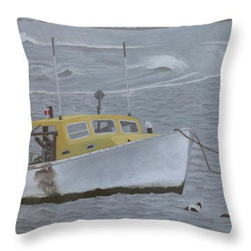 Lobster Boat In Kettle Cove Throw Pillow
