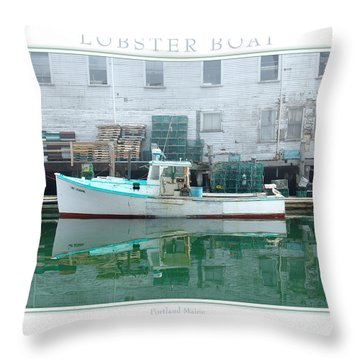 Lobster Boat Throw Pillow by Peter Muzyka