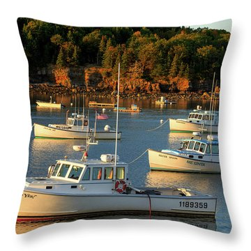 Throw Pillow featuring the photograph Lobster Boats At Bar Harbor Me  by Emmanuel Panagiotakis