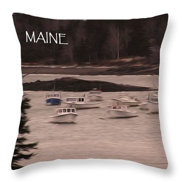 Lobster Boats Throw Pillow by Jewels Blake Hamrick