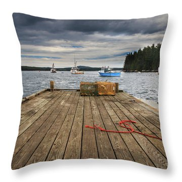 Lobster Boats Of Winter Harbor Throw Pillow