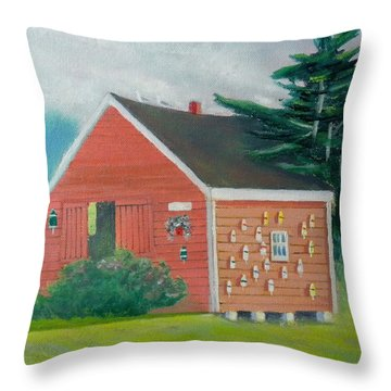 Lobster Buoy Shack Throw Pillow