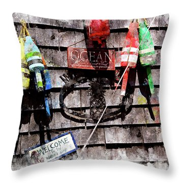 Lobster Buoys Wc Throw Pillow by Peter J Sucy