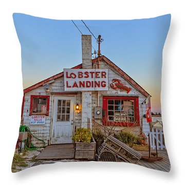Lobster Landing Sunset Throw Pillow by Edward Fielding