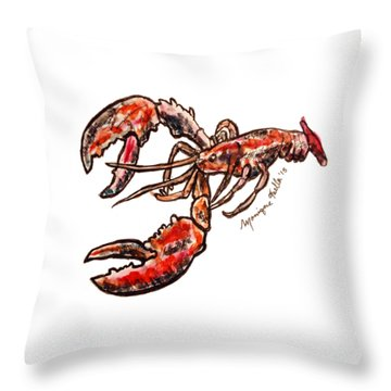 Throw Pillow featuring the painting Lobster by Monique Faella