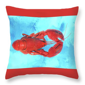 Lobster On Turquoise Throw Pillow