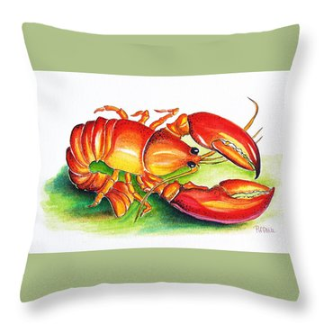 Lobster Throw Pillow by Patricia Piffath