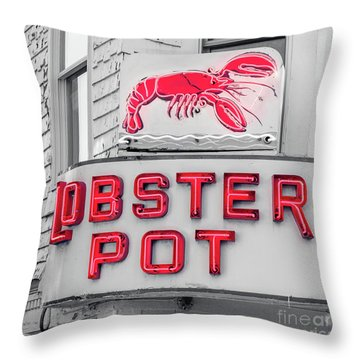 Lobster Pot Neon Provincetown Cape Cod Throw Pillow by Edward Fielding