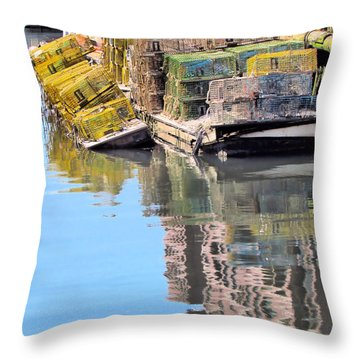 Lobster Traps Throw Pillow by Elizabeth Dow