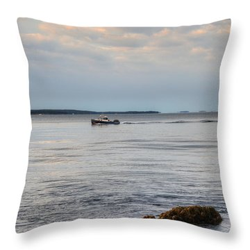 Lobsterboat Freedom II - Bass Harbor, Maine Throw Pillow