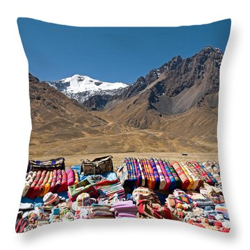 Local Handicraft At Abra La Raya Pass Throw Pillow by Aivar Mikko