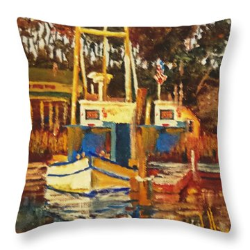 Throw Pillow featuring the painting Local Parking by Jim Phillips