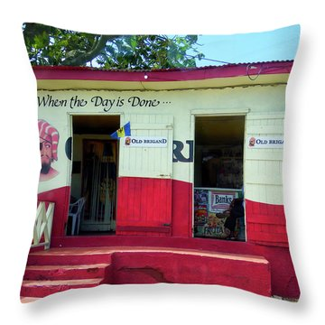 Throw Pillow featuring the photograph Local Rum Shop, Barbados by Kurt Van Wagner