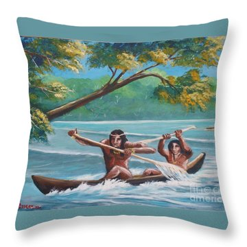 Locals Rowing In The Amazon River Throw Pillow