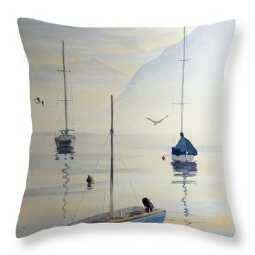 Locarno Boats In February Throw Pillow by David Gilmore