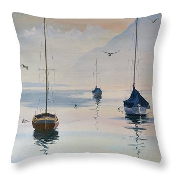 Locarno Boats In February-2 Throw Pillow by David Gilmore