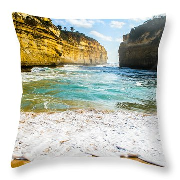 Loch Ard Gorge Throw Pillow by Max Serjeant