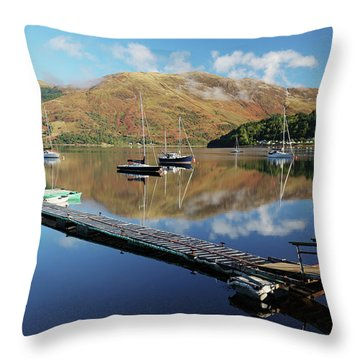 Throw Pillow featuring the photograph Loch Leven  Jetty And Boats by Grant Glendinning