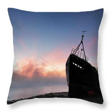 Throw Pillow featuring the photograph Loch Linnhe Misty Shipwreck by Grant Glendinning