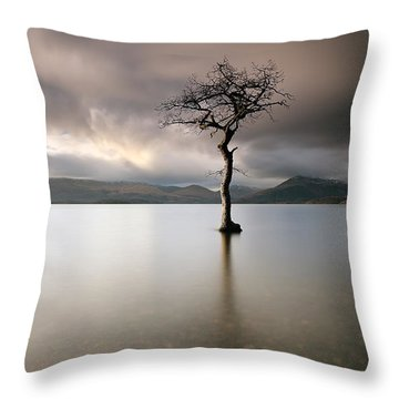 Loch Lomond Lone Tree Throw Pillow