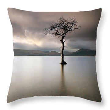 Loch Lomond Lone Tree Throw Pillow by Grant Glendinning
