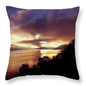 Loch Ness Winter Sunset Throw Pillow