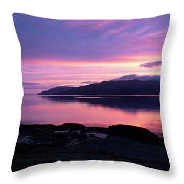 Loch Scridain Sunset Throw Pillow