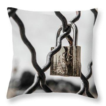 Locked In Paris Throw Pillow