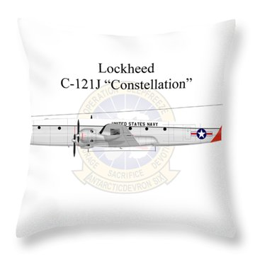 Throw Pillow featuring the digital art Lockheed C-121j Constellation by Arthur Eggers
