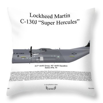 Throw Pillow featuring the digital art Lockheed Martin C-130j-30 Super Hercules by Arthur Eggers