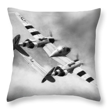 Lockheed P-38l Lightning Drawing Throw Pillow