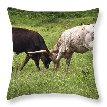 Throw Pillow featuring the photograph Locking Horns by Tamyra Ayles
