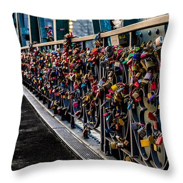 Locks Of Lock Bridge Throw Pillow