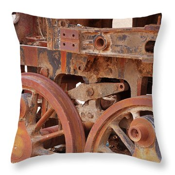 Throw Pillow featuring the photograph Locomotive In The Desert by Aidan Moran