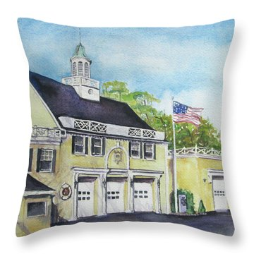 Throw Pillow featuring the painting Locust Valley Firehouse by Susan Herbst