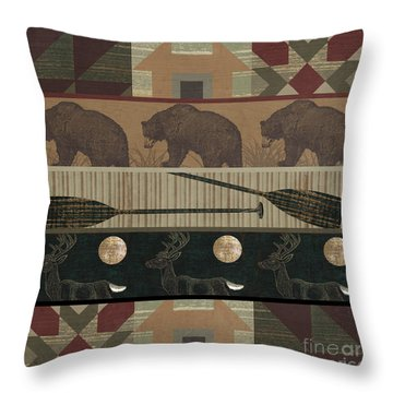 Lodge Cabin Quilt Throw Pillow