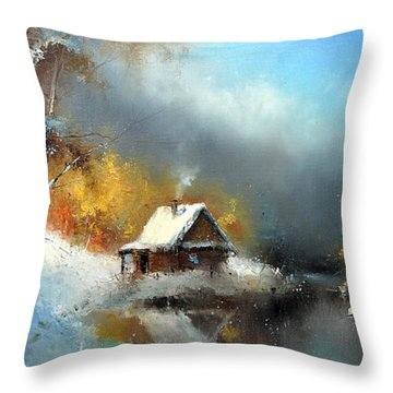 Lodge In The Winter Forest Throw Pillow