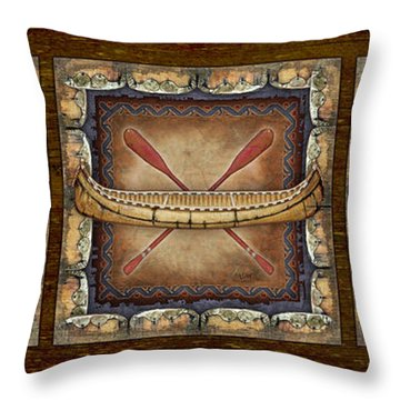Throw Pillow featuring the painting Lodge Panel by Joe Low