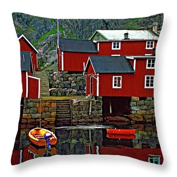Lofoten Fishing Huts Oil Throw Pillow by Steve Harrington