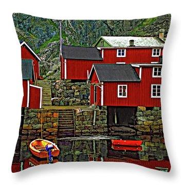 Lofoten Fishing Huts Throw Pillow by Steve Harrington