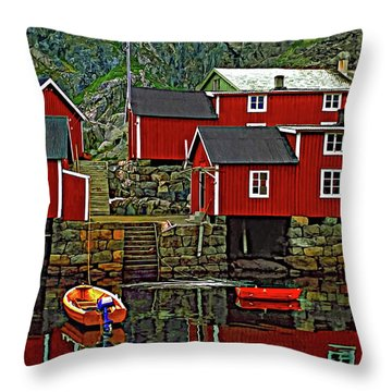 Lofoten Fishing Huts Throw Pillow by Steve Harrington