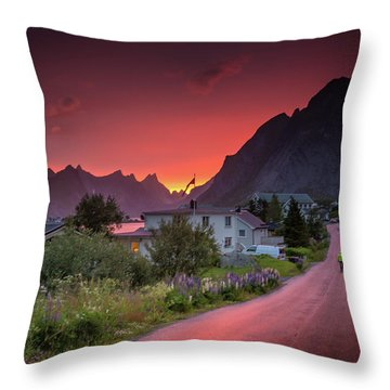 Lofoten Nightlife  Throw Pillow