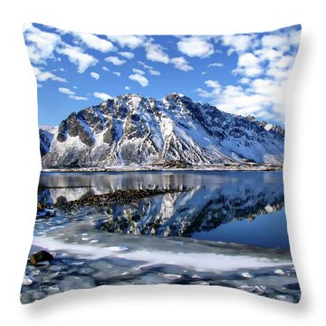 Lofoten Winter Scene Throw Pillow