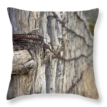 Throw Pillow featuring the photograph Log And Wire Fence by Phyllis Denton