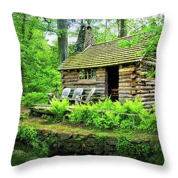 Log Cabin At Morris Arboretum Throw Pillow