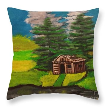 Log Cabin Throw Pillow by Brindha Naveen